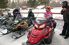 Winter Snowmobiling at Peppermint Park Camping Resort